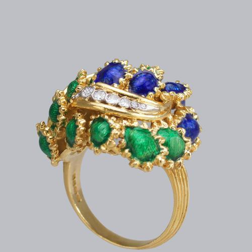 Vintage Diamond and Blue & Green Enamel Ring 18ct Gold Bombé Ring (1 of 21)