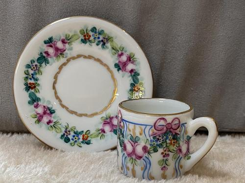 Limoges Hand Painted Miniature Cup and Saucer (1 of 6)