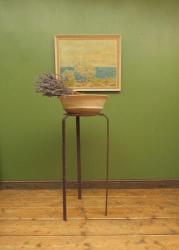 Handmade Wrought Iron Stand with Wide Terracotta Bowl for Wedding Flowers (1 of 15)