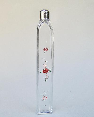 Unusual Georgian Silver & Enamelled Glass Scent Bottle c.1780 (1 of 4)