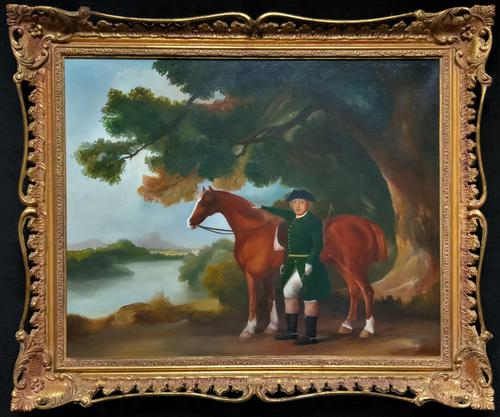 Lovely Large Primitive School Rococo Framed Oil Portrait Painting Horse & Rider (1 of 13)