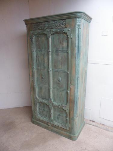 Handmade Indian Mango & Teak Large Painted Light Green 2 Door Storage Cupboard (1 of 9)