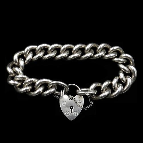 Vintage Heavy Chunky Heart Padlock Sterling Silver Curb Bracelet (1 of 10)