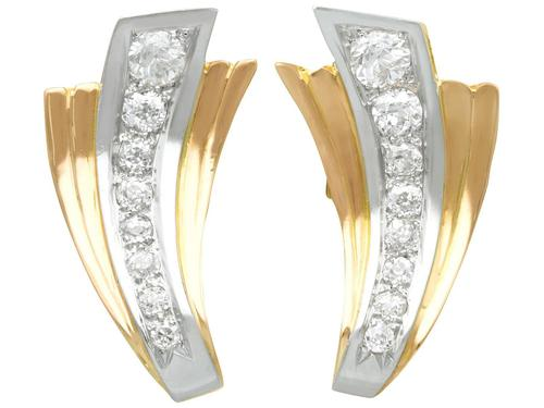 4.06ct Diamond and 18ct Yellow Gold Earrings - Art Deco - Vintage French c.1940 (1 of 9)