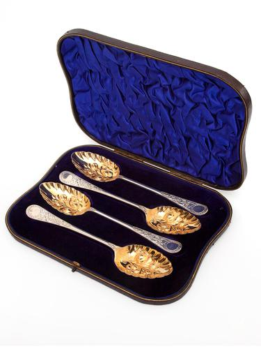 Boxed Set of Four Good Quality Edwardian Venetian Pattern Silver Berry Spoons (1 of 7)
