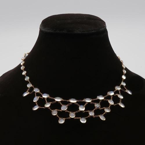 Moonstone Gold Fringe Necklace (1 of 2)
