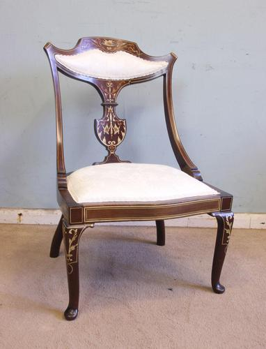 Antique Inlaid Mahogany Occasional Chair (1 of 7)