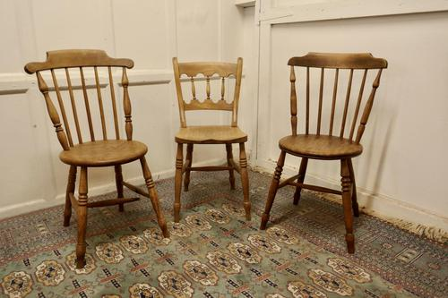 Collection of 3 Stripped Beech & Elm Country Windsor Chairs (1 of 12)