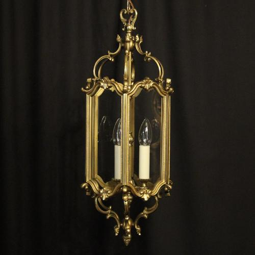 French Gilded Triple Light Antique Hall Lantern (1 of 10)