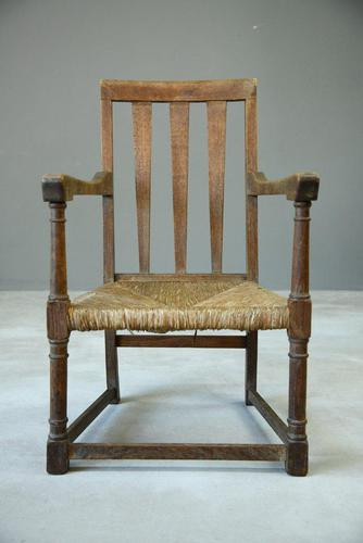 Arts & Crafts Oak & Rush Chair (1 of 8)