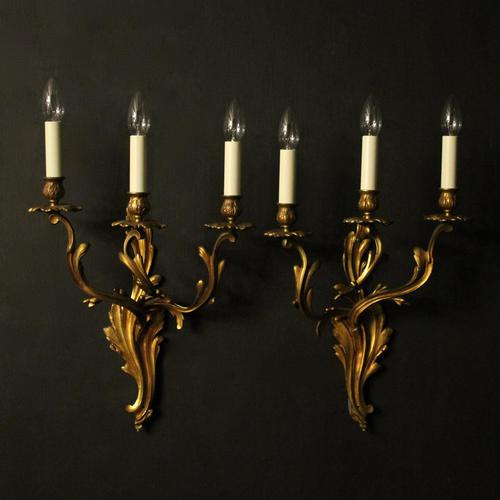 French Pair Of Bronze Antique Wall Sconces (1 of 8)