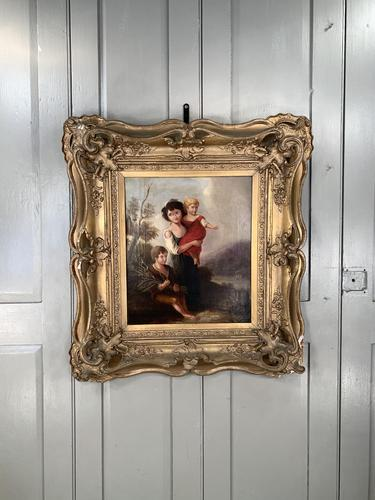 Antique Georgian early Victorian oil painting portrait of children in gesso frame (1 of 9)