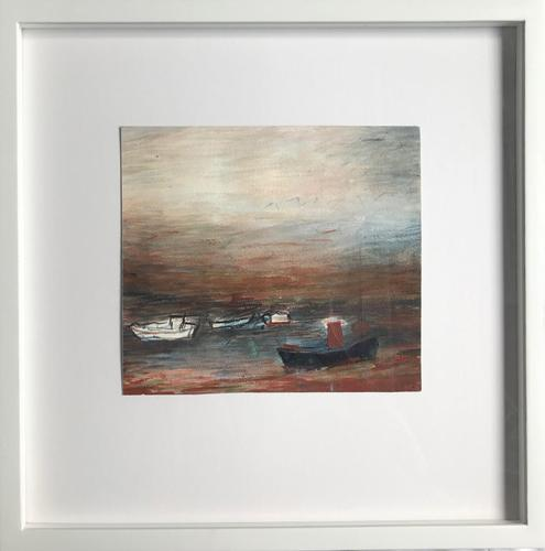 Original gouache painting 'evening on the estuary' by Doreen Heaton Potworowski. 1920-2014. Initialled c.1970. Framed in a tray format (1 of 2)