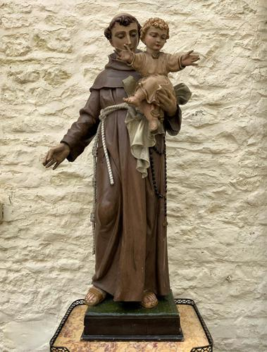 Exceptional Early 1900's Signed 39'' Carved Sculpture Statue St Anthony & Jesus (1 of 18)