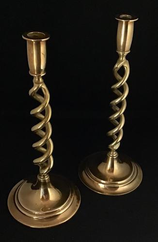 Pair of Victorian Brass Open Twist Candlesticks (1 of 4)
