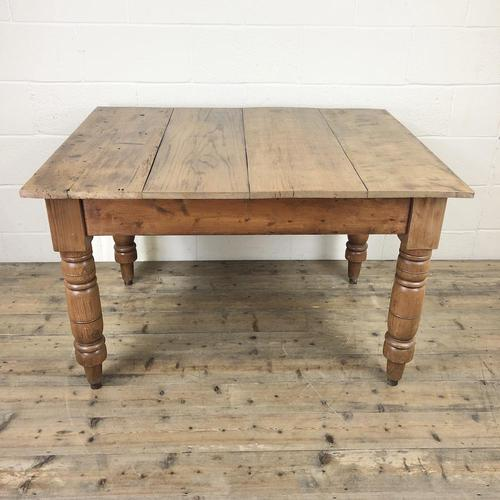 Antique Pine Farmhouse Kitchen Table with Oak Top (1 of 9)