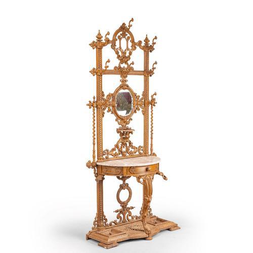 Elaborate Mid 19th Century Cast Iron Hall / Stick Stand (1 of 5)