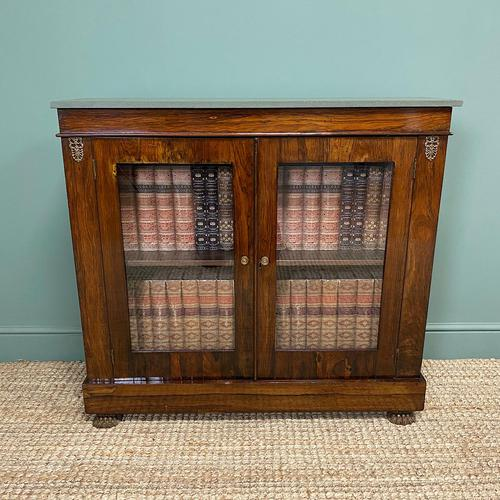 Quality Victorian Rosewood Antique Glazed Display Cabinet / Bookcase (1 of 9)