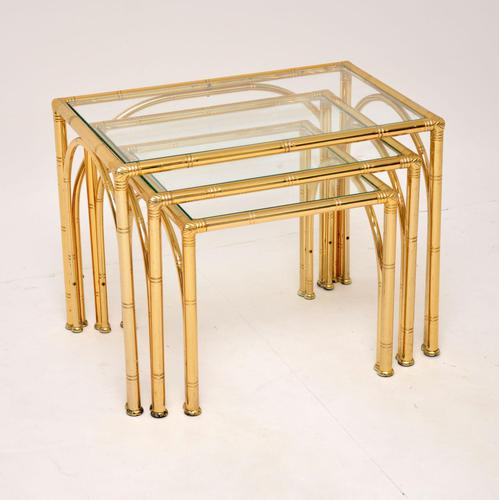Vintage Brass Faux Bamboo Nest of Tables (1 of 9)