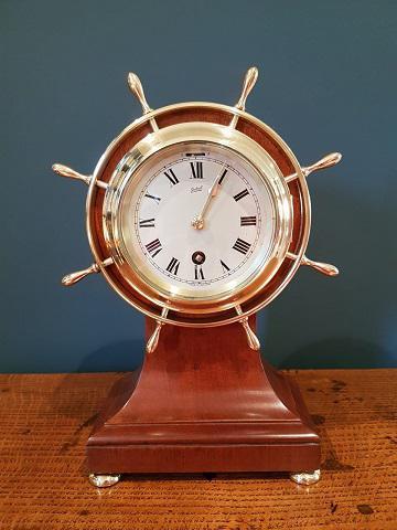 Antique Mahogany Ship's Wheel 8 Day Mantel Clock (1 of 5)