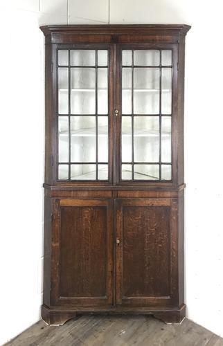 19th Century Antique Oak Glazed Corner Cupboard (1 of 10)