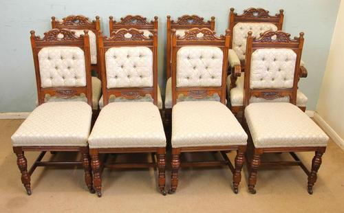 Antique Victorian Set of Eight Oak Dining Chairs (1 of 16)