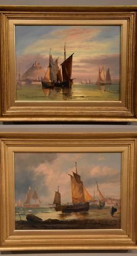 """Oil Painting Pair by George Dodgson Callow """"A Calm, Mounts Bay"""" and """"On the South Coast"""" (1 of 9)"""