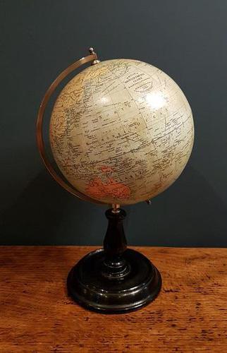 "Antique 8"" Paper Mache Phillip's Terrestrial Globe (1 of 7)"
