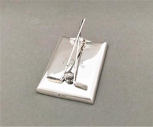 Superb Silver Golfing Interest Desk Clip / Paperweight (1 of 6)