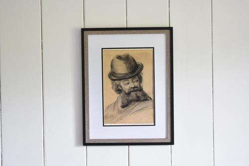 19th Century Charcoal Drawing Bearded Gent (1 of 10)