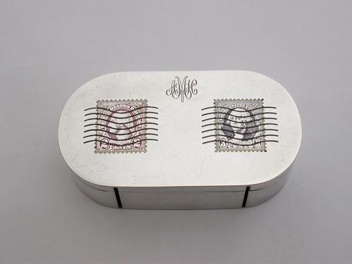 American Sterling Silver & Enamel Double Stamp Roll Dispenser Box by The Thomae Company, Attleboro, Massachusetts, U.S.A c.1932 (1 of 12)