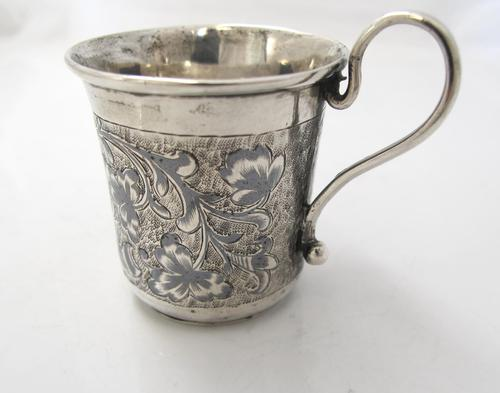 Imperial Russian Silver & Niello Tot Cup with Scroll Handle 84k Moscow 1850 (1 of 7)