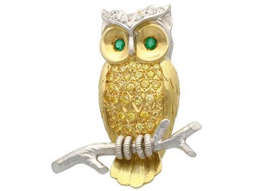 Emerald, Diamond, 18ct Yellow & White Gold Owl Brooch - Vintage c.1980 (1 of 9)