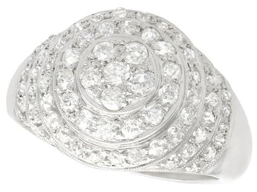 1.48ct Diamond & Platinum Bombe Cocktail Ring - Vintage c.1940 (1 of 9)