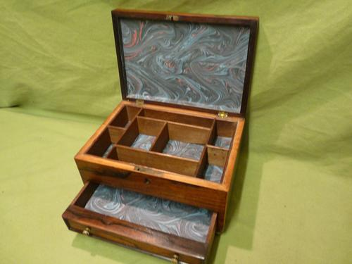 Unisex Rosewood Jewellery Box. Front Drawer. C1830. (1 of 11)