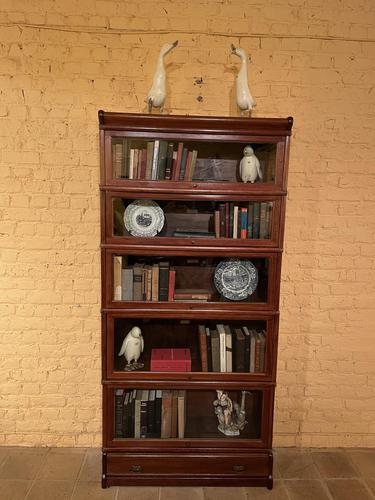 Bookcase from Globe Wernicke Called Stacking Bookcase in Mahogany-5 Elements (1 of 10)
