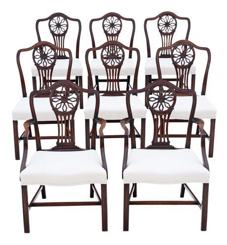 Set of 8 (6+2) Georgian Mahogany Dining Chairs c.1820 (1 of 10)