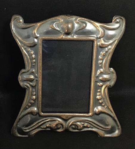 Art Nouveau Anodised Copper Metal Easel Photo Frame (1 of 1)