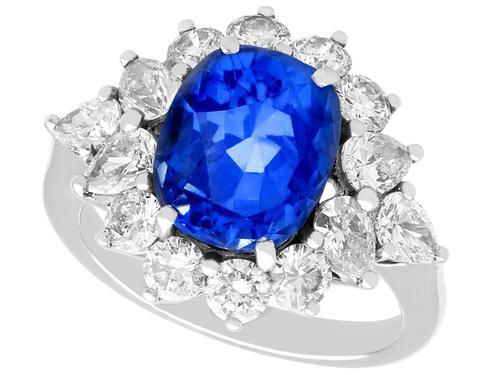 6.83ct Sapphire & 2.84ct Diamond, Platinum Dress Ring - Vintage c.1970 (1 of 8)