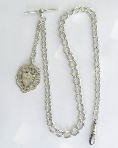 Antique Silver Watch Chain & Fob (1 of 3)