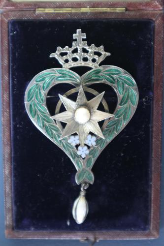 Scottish Victorian 'Star of Snowdoun' Enamel & Pearl Purity Brooch 1859 (1 of 34)