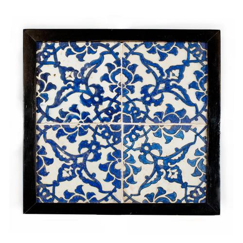 A panel of four square Ottoman Empire 'Dome of the Rock' tiles (1 of 6)