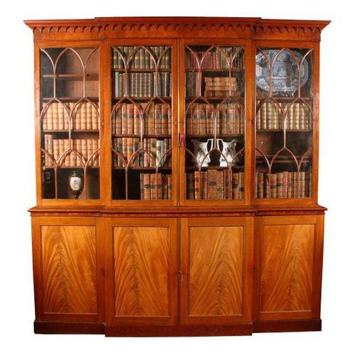 Georgian Mahogany Breakfront Bookcase (1 of 6)