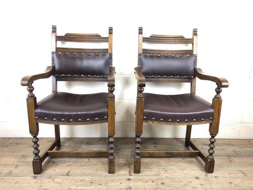 Pair of Mid 20th Century Oak Armchairs (1 of 7)