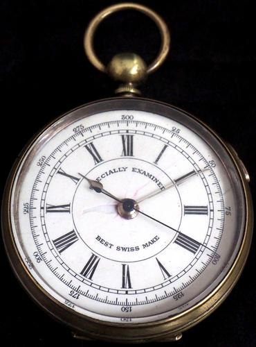 Antique Chronograph Pocket Watch Sweeping Stop Start Seconds Hand Swiss Made Key Wind. (1 of 8)