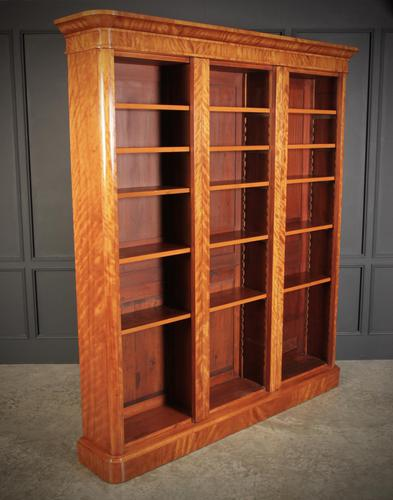 Large Triple Satinwood Open Bookcase (1 of 7)