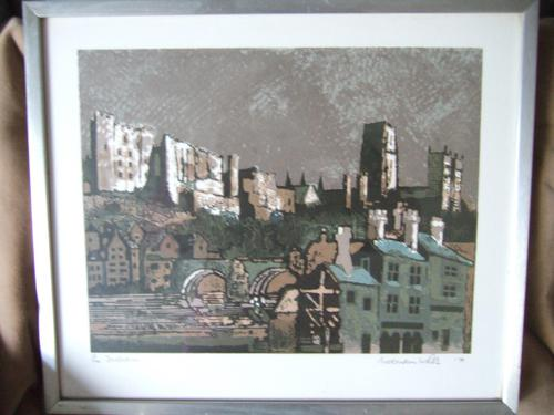 Norman Wade:  limited edition screenprint of Durham castle and cathedral (1 of 3)