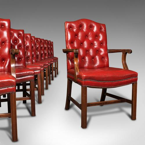 Set Of 10 Antique Gainsborough Chairs, English, Leather, Carver, Edwardian, 1910 (1 of 12)