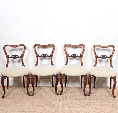 4 Walnut Balloon Dining Chairs 19th Century (1 of 12)
