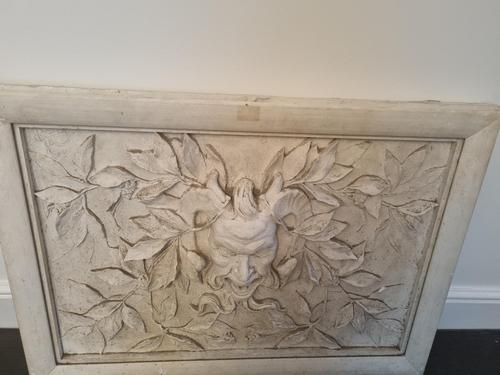 Italian Moulded Plaster Relief Panel Depicting Grotesque Mask (1 of 3)